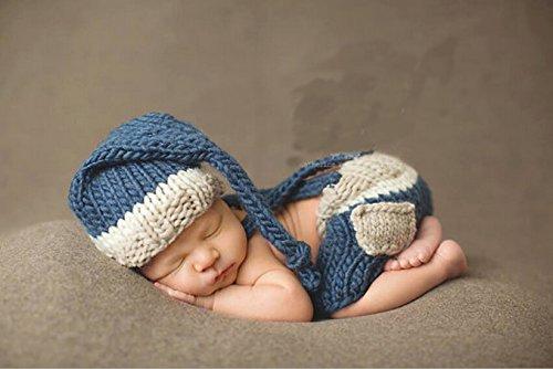 Jastore ® Foto Fotografie Prop Baby Junge Kostüm Nette blau Stricken Handarbeit Bekleidung Häkelarbeit neugeboren Geschenk