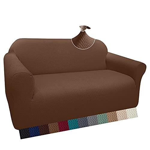 Granbest Thick - Funda de sofá con diseño elegante, elástica, jacquard, con reposabrazos, antideslizante (2 plazas, color café)