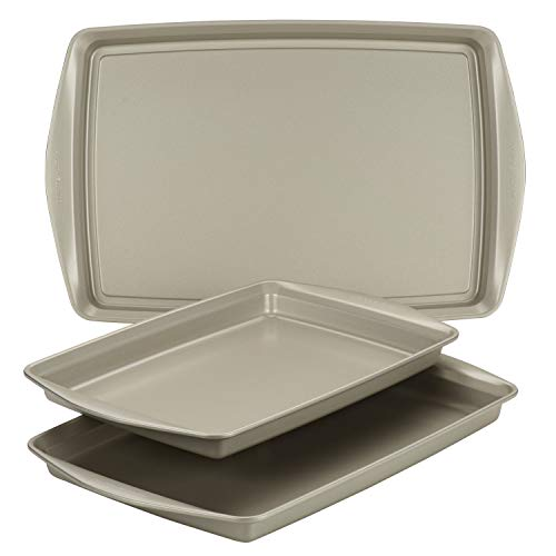 Rachael Ray Nonstick Bakeware Set without Grips includes Nonstick Cookie Sheets / Baking Sheets - 3 Piece, Silver
