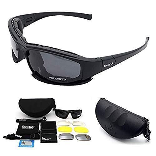Polarizzati X7 occhiali da sole, occhiali di protezione dell'esercito militare con 4 lenti intercambiabili per il motociclo in bicicletta Paintball Wargame CACCIA esecuzione sci pesca, unisex