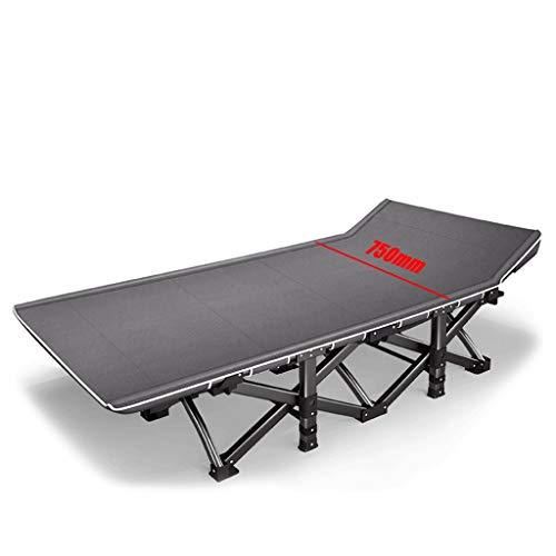 Einzelnes Campingbett Klappliegen, 5 Sekunden Installation, Metallstruktur 1200D Oxford-Stoff PE-Bett Fußlast bis zu 200 kg 190x75x36 cm Feldbett (Color : Gray)