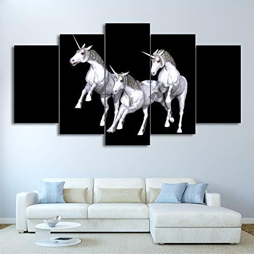 KANGZEDT Pintura sobre lienzo - 5 piezas 200*100CM Caballo animal unicornio 5 Cuadro sobre Lienzo Marco Mural Impresiones En Lienzo Cuadro en Lienzo Posters 5 Piezas Pintura de Arte de Pared impresión