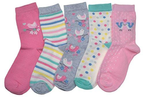 WB Socks 5 Paar Damensocken - Baummöchtenreich Vögel, Punkte & Streifen Motiv