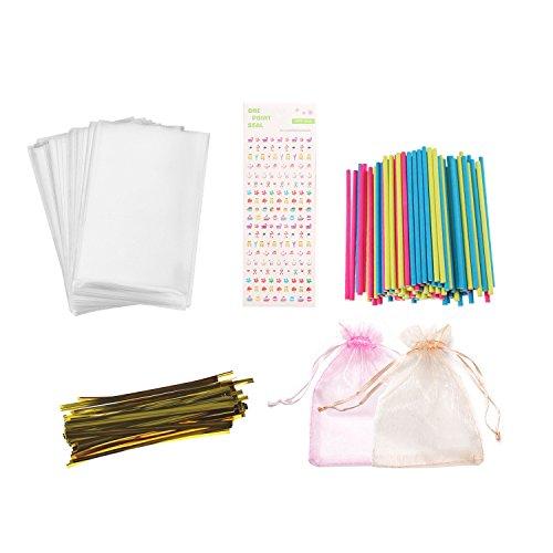 Lollipop Kit de fabricación de 399 piezas de accesorios para hacer tartas con palos de labios, envoltorios, corbatas metálicas para hacer tus propios piruletas, chocolates y galletas para tus hijos