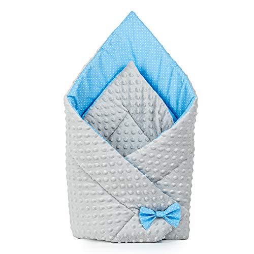 Saco de Dormir para bebé de - Manta de niño pequeño de Dormir, invierno, para durante todo el año, Saco de algodón Minky reversible para envolver (gris - azul)