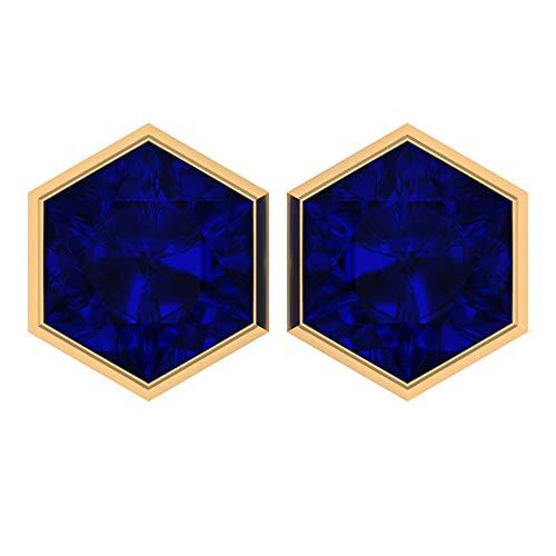 Solitaire Gemstone Earrings, Hexagon Earrings, 4.5 CT 8 MM Lab Created Blue Sapphire Earrings, Wedding Stud Earrings, Bridesmaid Earrings, 14K Yellow Gold, Pair