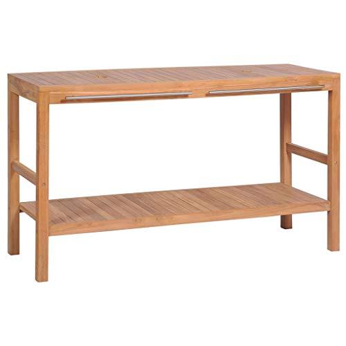 Tidyard Mueble de Lavabo con 2 Orificios para Debajo del Lavabo,Armario de Baño Mueble Auxiliar Baño,Madera Teca Maciza,132x45x75cm