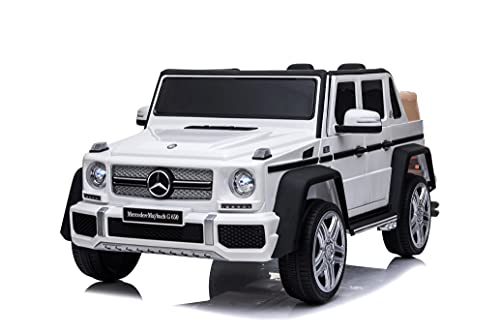 RICCO® 12V 7A Mercedes Maybach G650 Licensed Kids Electric Ride on Car with Bluetooth USB Music LED Lights Parental Remote Control (WHITE)