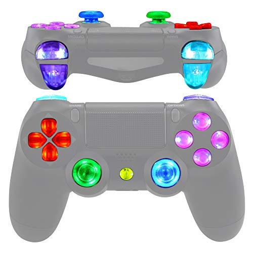 eXtremeRate Botones LED Multicolores para PS4 Mando Botón de D-Pad L1 R1 R2 L2 Trigger Joysticks Home Face Teclas DTFS(DTF 2.0) Kit para Playstation 4 Control CUH-ZCT2 DIY 7 Áreas en 10 Colores Modos