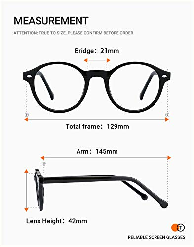 TIJN Men Women Classic Round Blue Light Blocking Non-prescription Frosted Eyeglasses Frame