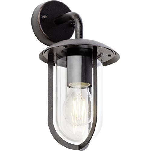 Brilliant Fitzroy buitenwandlamp hangend spatwaterdicht roestkleurend industriële look, 1 x E27 geschikt voor normale lampen tot maximaal 40 W.