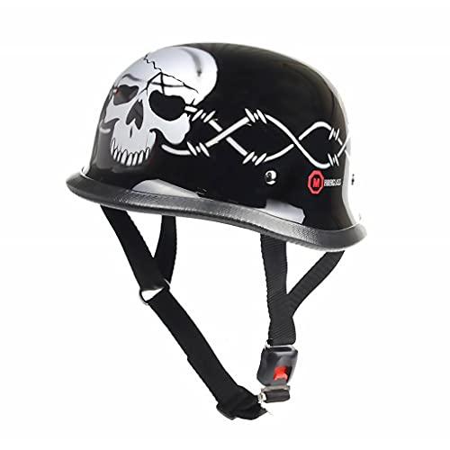 REDBIKE Casco de Moto Clásico No Homologado | Negro Brillante con Calavera Plateada | Fibra de Vidrio | Forro Interior Textil | Correa con Hebilla de Liberación Rápida | RK-304 (S)