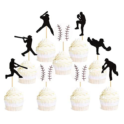 Ercadio 36 Pack Baseball Cupcake Toppers Glitter Sport Theme Ball Player Cupcake Picks Baseball Theme Baby Shower Kids Birthday Party Cake Decorations Supplies