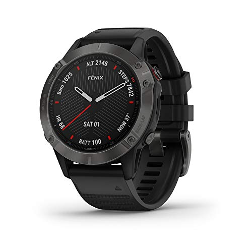 Garmin fenix 6 Sapphire, Premium Multisport GPS Watch, Features Mapping, Music, Grade-Adjusted Pace Guidance and Pulse Ox Sensors, Carbon Gray DLC with Black Band
