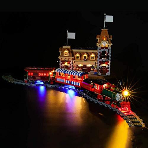 HLEZ Conjunto de Luces para Tren y estación Modelo de Construcción de Bloques, Kit de Luces Compatible con Lego 71044 (Modelo Lego no Incluido)