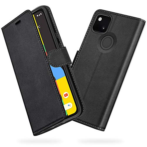 """ykooe Google Pixel 4A Case (5.8""""), Classic PU Leather Flip Phone Case for Google Pixel 4A 2020 Card Holder Cover, Black"""