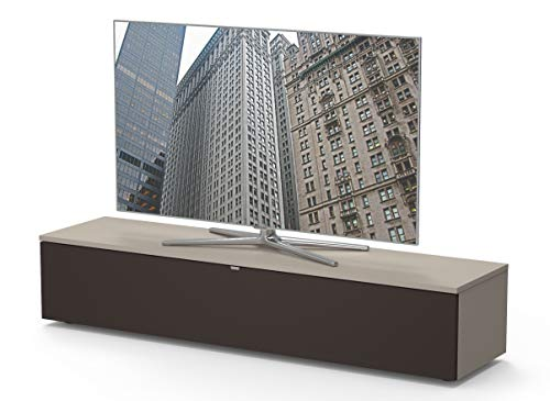 Premium TV- Möbel, Lowboard, Maße: 160x32.5x40cm, inkl. Akustikstofffront, Abnehmbare Rückwände, Made in Germany, einfache Montage, Farbe: Cappuccino