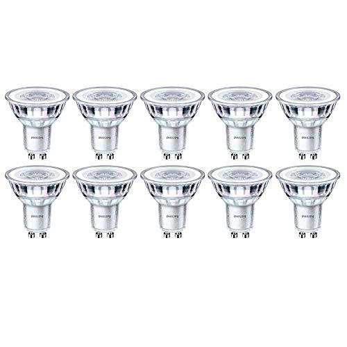 Philips Strahler, CorePro LED-Spot, 5 W (50 W), dimmbar, GU10, 2700 K, Warmweiß, 350 Lumen, 15000 Stunden, 36 Grad Abstrahlwinkel, 929001218832, 10 Stück