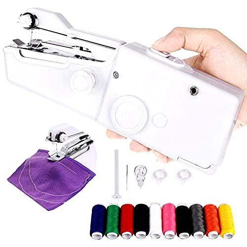 Maquina de coser Portatil Mini, Maquina de coser manual, Ideal para Viajes - Con accesorios y bobinas de hilo - 20 x 7 x 3.5 cm.