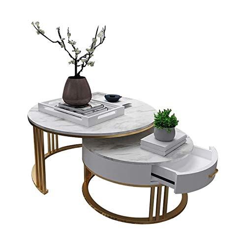 ZXNRTU Diseño Simple Mesa de café de 2, Modern Extremo Lateral Mesa de mármol Sofá Tabla Mesa de cóctel, con Estructura de Metal y gaveta de Almacenamiento, for el hogar de la Sala