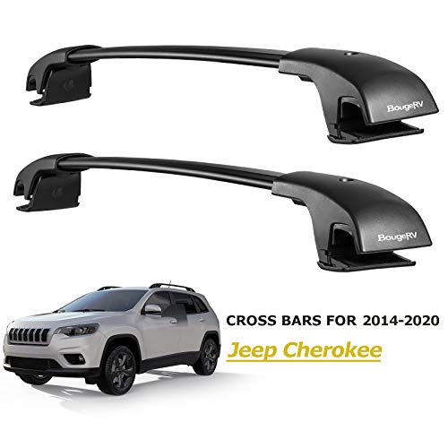 BougeRV Car Roof Rack Cross Bars for 2014-2020 Jeep Cherokee with Side Rails, Aluminum Cross Bar Replacement for Rooftop Cargo Carrier Bag Luggage Kayak Canoe Bike Snowboard Skiboard