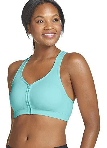 Jockey Women's Bras Mid Impact Zip Front Sports Bra, Angel Blue, M