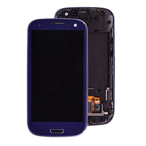 Pantallas LCD para teléfonos móviles Pantalla LCD Pantalla táctil Digitalizador Inicio Botton Montaje Completo/Ajuste para Samsung Galaxy S3 I9300 (Color : Blue)