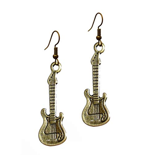 """Harmony Music Jewelry - Antique Bronze""""Electric Guitar"""" R&B Rock Bass Steampunk Instruments Pendant with Easy Fishhook Earrings (earring2015)"""