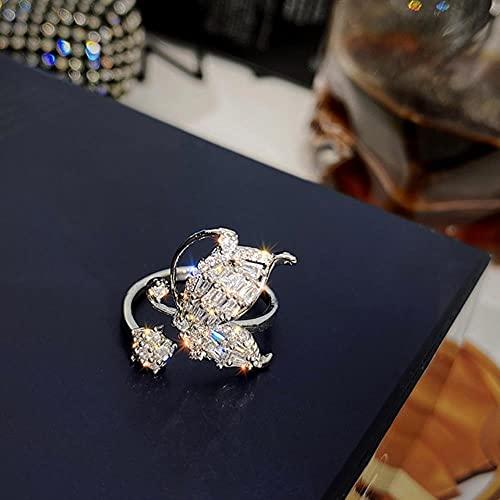 CHOUDOUFU Estatua Escultura Adorno Diseño De Joyería Que Abre Anillo De Mariposa De Circonita con Incrustaciones De Cobre, Anillo De Cóctel Brillante De Lujo para Mujer