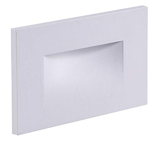 Cloudy Bay 120V LED Indoor Outdoor Step Light,4000K Cool White 3W 100lm,Stair Light,White Finish