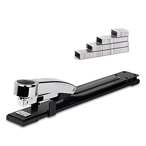 {Bananana}ホッチキス、コンパクトサイズの中綴じ製本用ホチキスロングアーム付き 40枚容量デスクトップステープル、調整可能なロックペーパーガイド、ジャムなし、ホームオフィススクールコマーシャルステープル、標準ステープル付き(ブラック)