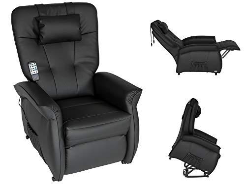 THRONER EXKLUSIV Massagesessel mit elektr. Aufstehhilfe 5-Zonen-Massage in Schwarz. TV-Sessel mit Liegefunktion Wellness-Massagen Wärmetherapie und Fernbedienung. Qualität aus Deutschland