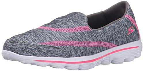 Skechers Go Walk 2-Relay Textile Wanderschuh, Grau (Grey Hot Pink), 28.5 EU