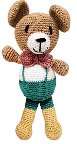Handgemachte Teddybär-Puppe - gehäkelter Bär - grün/gelb/rot - aus Bio-Baumwolle - Geschenk Geburt Geburtstag Taufe Babyshower Baby Newborn