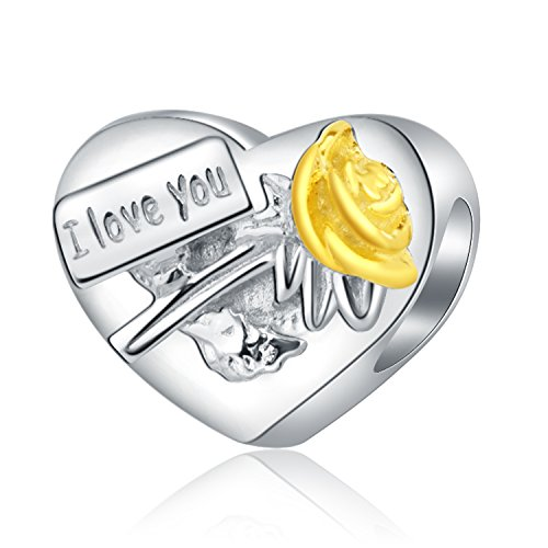 I Love You My Wife Gold Plated Rose 925 Sterling Silver Heart Charms for Bracelets Valentine's Day Anniversary Gifts for Her Jewellery