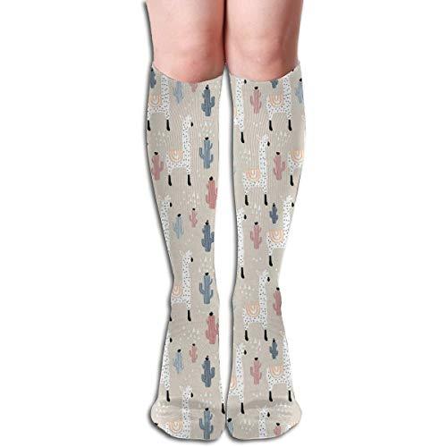 Compression Socks Graduated Stockings für Männer & FrauenMuster mit südamerikanischen Guanaco-Kakteen und handgezeichneten kindlichen Elementen
