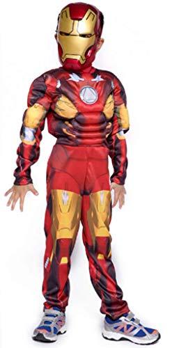 PRESTIGE & DELUXE Costume Vestito Carnevale Iron Man Taglia 3 4 5 6 7 8 9 10 12 Anni (7-8 Anni: Altezza Bimba/o 128 cm)
