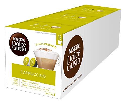 NESCAFÉ Dolce Gusto Cappuccino, XXL-Vorratsbox, 90 Kapseln, 100{ab69f28c7105ea51128b5fa144496378ff9280ee0dc904da4a29c5c633d7d211} Arabica Bohnen, leichter Kaffeegenuss mit cremigem Milchschaum, 3er Pack (3 x 30 Kapseln)