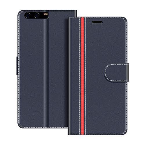 COODIO Handyhülle für Huawei P10 Handy Hülle, Huawei P10 Hülle Leder Handytasche für Huawei P10 Klapphülle Tasche, Dunkel Blau/Rot