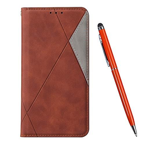 TOUCASA Kompatibel mit Huawei Mate 20 Pro Hülle, Handyhülle Brieftasche PU Leder Flip Case [Ständer Kartenfach] [Taktile Stitching] Handytasche Klapphülle Kratzfestes Schutz Lederhülle (Braun)
