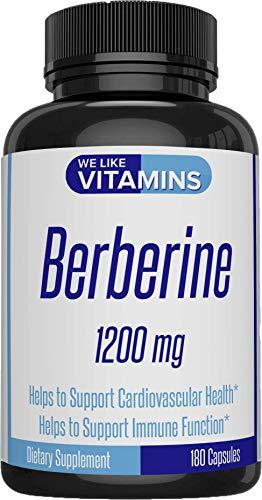 Berberine 180 Vegetarian Capsules 1200mg per Serving - Berberine Supplement for Supporting Immune, Cardiovascular Function, and Blood Sugar