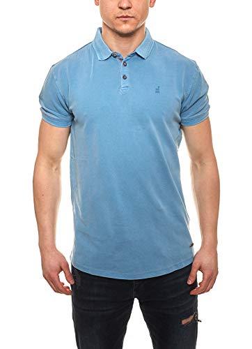 NO EXCESS Polo-Shirt sportliches Herren Picqué Polo-Hemd mit Knopfleiste Freizeit-Shirt Kurzarm-Shirt Blau, Größe:S