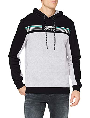 Jack & Jones JCOCARGO Sweat Hood Sudadera con Capucha, Black/Detail: W. New Light Grey Melange, L Regular para Hombre