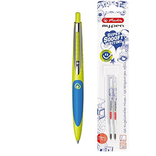Herlitz 11370129 Gel Kugelschreiber my.pen, zitrone/blau + Ersatzminen