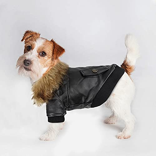 Small Dog Leather Jacket Motorcycle Doggy Coat Waterproof Windproof Cat Puppy Warm Winter Clothes Chihuahua Cold Weather Jacket, Medium