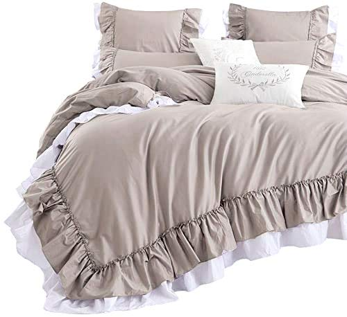 Queen's House Cotton Duvet Cover Taupe Bedding Set King Size
