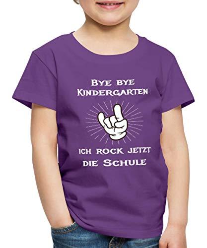 Bye Bye Kindergarten Ich Rock Die Schule Kinder Premium T-Shirt, 122/128 (6 Jahre), Lila
