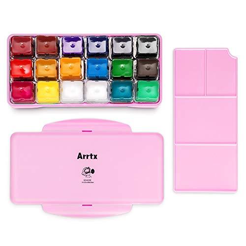 Kit de pintura Arrtx Gouache, 18 colores x 30 ml, diseño único de tarrinas con funda portátil, Gouache, perfecto para óleo, pintura acrílica y más (rosa)