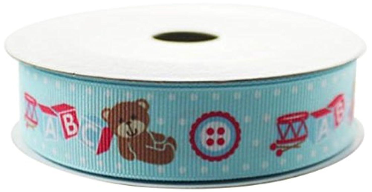 Firefly Imports Homeford Baby Shower Printed Teddy Bear ABC Blocks, 7/8-Inch by 10-Yard, Light Blue