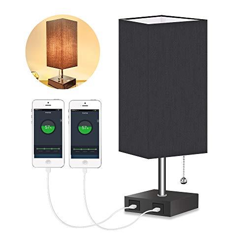 Lámpara de Noche,LED Vintage con Pantalla de Tela, Lámpara de Mesa de Tela, Lámpara de Escritorio, Lámpara de Noche con 2 puertos USB para Dormitorio, Salón,Negro (EU plug)